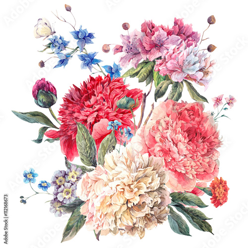 Vintage Floral Greeting Card with Blooming Peonies - 112168673