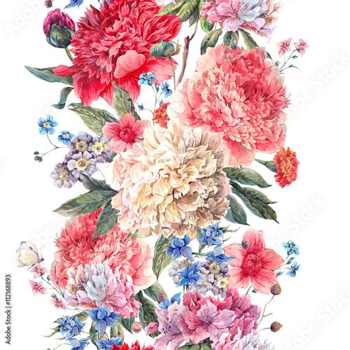 Vintage floral seamless watercolor peonies border - 112168893