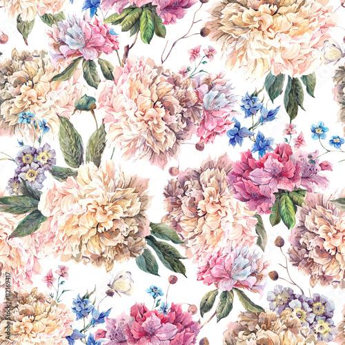 Fototapeta Vintage Floral Watercolor Seamless Pattern with White Peonies