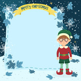 Illustration of christmas greeting card notes with glasses elf boy in winter night background.