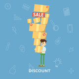 Man with lots of shopping in boxes from the store sales and discount concept flat abstract isolated vector illustration