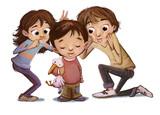 niños haciendo burlas