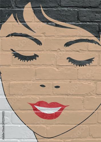 Art urbain, Portrait de femme aux yeux fermés Poster