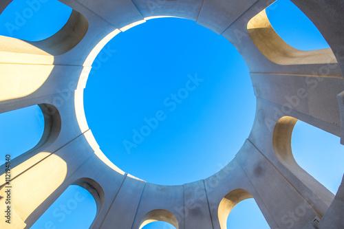 Naklejka blue sky through abstract roof window