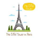 Eiffel Tower in Paris. Famous world landmarks icon concept. Journey around the world. Tourism and vacation theme. Modern design flat vector illustration.