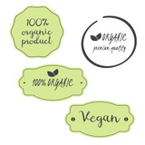 vector set 100% organic, vegan, premium quality product symbols
