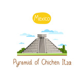 Pyramid of Chichen Itza. Famous world landmarks icon concept. Journey around the world. Tourism and vacation theme. Modern design flat vector illustration.