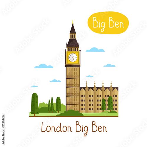 Zdjęcia na płótnie, fototapety, obrazy : London Big Ben. Famous world landmarks icon concept. Journey around the world. Tourism and vacation theme. Modern design flat vector illustration.