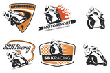 Fototapety Set of racing motorcycle logo, badges and icons. Motorcycle repa