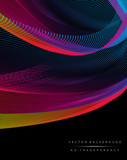 Abstract colorful wavy lines background illustration - 112216856