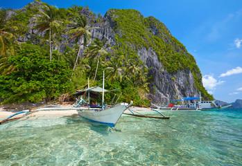 Traditional filippino boat at El Nido bay.  Palawan island, Phillippines
