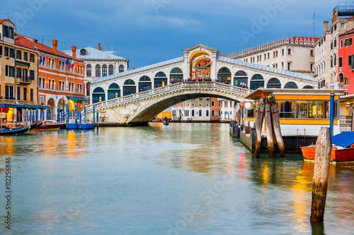 Rialto Bridge at dusk in Venice, Italy Poster