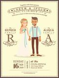 wedding couple groom and bride cartoon wedding invitation card template