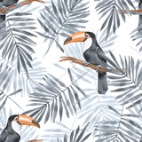 Palm leaves and Toucan. Watercolor seamless pattern 2 - 112271802