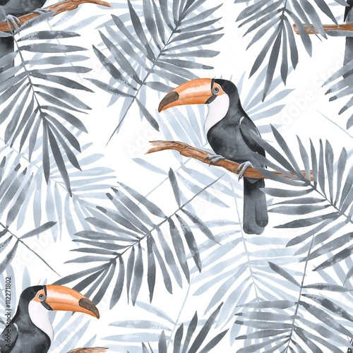 Materiał do szycia Palm leaves and Toucan. Watercolor seamless pattern 2