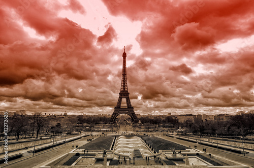 Red sky over Paris Poster