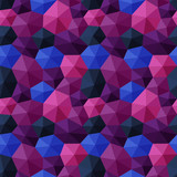 Mixed hexagons three dimensional shading multicolor dark tones