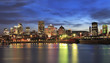 Montreal skyline and St Lawrence River at dusk