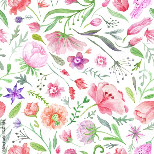 Cotton fabric Bright Vintage Watercolor Summer Pattern