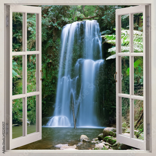Open window view to famous Beauchamp Falls, Australia - 112283057