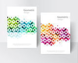 Fototapety White Brochure cover template. rainbow Modern Geometric Abstract background red, yellow, purple,green & blue squares and triangles. minimalistic design creative concept stock-vector 10 EPS