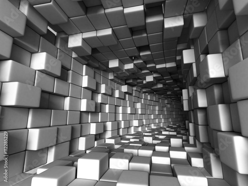 Fototapeta Tunel z kostek 3D