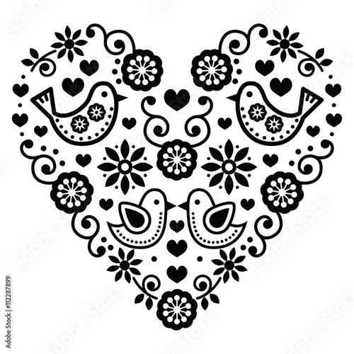 Fototapeta Folk art Valentine's Day heart - love, wedding, birthday greetings card