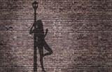 Fototapety ombra di una prostituta appoggiata al lampione sul muro di mattoni