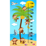 palm tree height measure with monkeys  (in original proportions 1:4) - vector illustration, eps