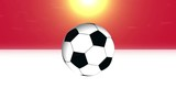 Indonesia Soccer Ball on flag background