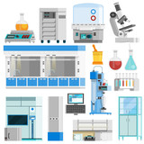 Science Flat Color Isolated Icons