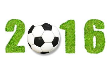 Fußball 2016 - Jahreszahl mit Grastextur und Fußball, freigestellt