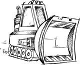 Sketch Construction Bulldozer Vector Illustration