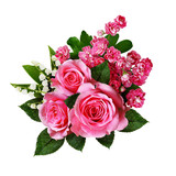 Bouquet of pink roses, lilies of the valley and hawthorn flowers