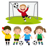 Fototapety Set of cartoon soccer kids with different pose