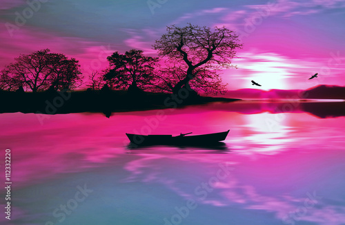 Fotobehang Roze illustration of beautiful colorful sundown landscape