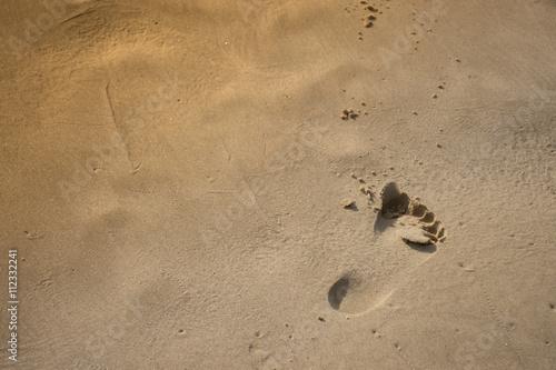 Poster Pegada na areia da praia