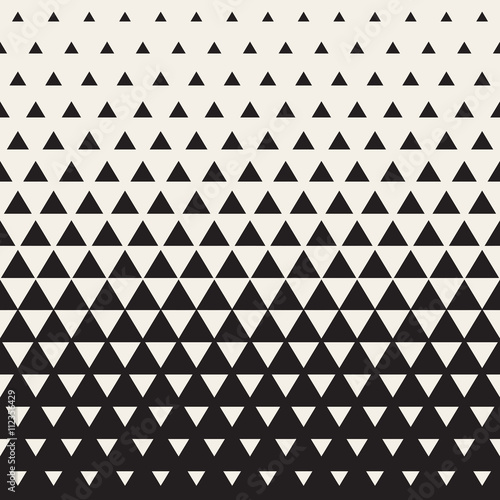 Fototapeta Vector Seamless White to Black Transition Triangle Halftone Gradient Pattern