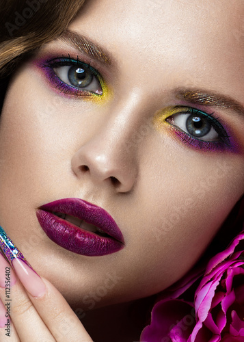 Стенна Декорация Beautiful girl with colorful make-up, flowers. beauty face.