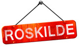 Roskilde, 3D rendering, a red hanging sign