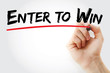 Hand writing Enter to Win with marker, business concept