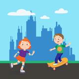 Roller Skating Girl. Skating Boy. Kids Playing in the City. Vector