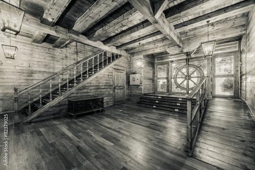 Fotobehang Schip Interior of old pirate ship. Black and white image
