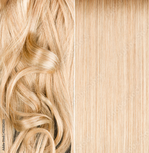 Poster Blond hair before and after straightening