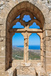 City view through the window of an ancient fortress, Cyprus - 112382853