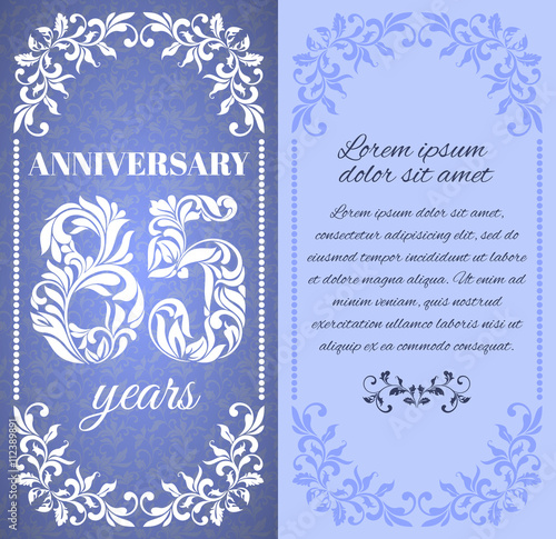 Poster Luxury template with floral frame and a decorative pattern for the 85 years anniversary