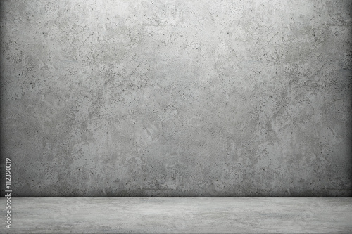 Fototapeta Concrete wall and floor. 3D rendering
