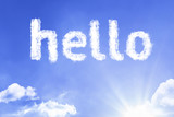 Hello cloud word with a blue sky