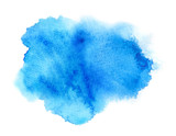 Vivid blue watercolor or ink stain with aquarelle paint blotch  - 112411256