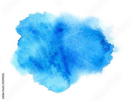 obraz lub plakat Vivid blue watercolor or ink stain with aquarelle paint blotch